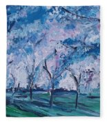 Cherry Trees Impressionism Fleece Blanket