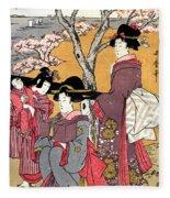 Cherry-viewing At Gotenyama Fleece Blanket