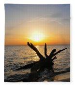 Chesapeake Bay Driftwood At Sunset Fleece Blanket