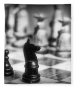 Chess Game In Black And White Fleece Blanket