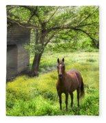 Chestnut Horse In A Sunny Meadow Fleece Blanket