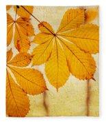 Chestnut Leaves At Autumn Fleece Blanket