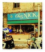 Chez Nick On Greene Avenue Montreal In Summer Cafe Art Westmount Terrace Bistros And Umbrellas Fleece Blanket