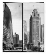Chicago 333 And The Tower 2 Panel Bw Fleece Blanket
