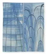 Chicago Abstract Before And After Blue Glass 2 Panel Fleece Blanket