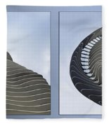 Chicago Abstract Before And After Radisson Blu Hotel 2 Panel Fleece Blanket