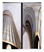 Chicago Abstract Before And After Sunrays On Trump Tower 2 Panel Fleece Blanket