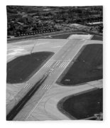 Chicago Airplanes 04 Black And White Fleece Blanket