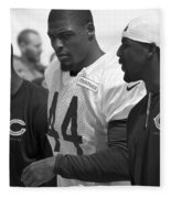 Chicago Bears S Adrian Wilson Training Camp 2014 Bw Fleece Blanket