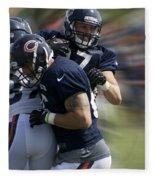 Chicago Bears Te Jeron Mastrud Moving The Ball Training Camp 2014 Fleece Blanket