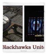Chicago Blackhawks United Center 2 Panel White Signage Fleece Blanket