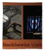 Chicago Blackhawks United Center Signage 2 Panel Tan Fleece Blanket