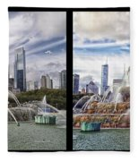 Chicago Buckingham Fountain 2 Panel Looking West And North Black Fleece Blanket