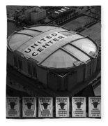 Chicago Bulls Banners In Black And White Fleece Blanket