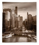Chicago City View Afternoon B And W Fleece Blanket
