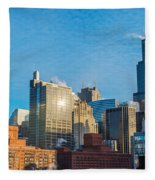 Chicago Cityscape During The Day Fleece Blanket