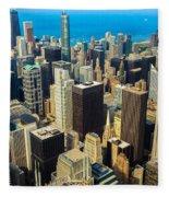 Chicago Cityscape Fleece Blanket