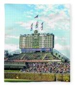 Chicago Cubs Scoreboard 01 Fleece Blanket