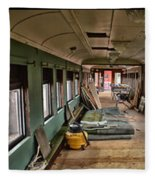 Chicago Eastern Il Rr Car Restoration With Blue Print Fleece Blanket