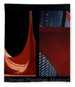 Chicago Flamingo Abstract 01 2 Panel Fleece Blanket