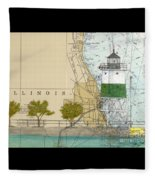 Chicago Harbor Se Guidewall Lighthouse Il Nautical Chart Art Fleece Blanket