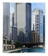 Chicago Il - Chicago River Near Wabash Ave. Bridge Fleece Blanket