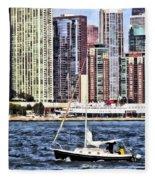 Chicago Il - Sailing On Lake Michigan Fleece Blanket