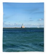 Chicago Illinois Harbor Lighthouse And Little Lady Tour Boat Usa Fleece Blanket
