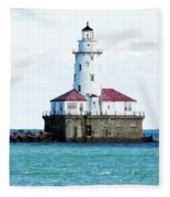 Chicago Illinois Harbor Lighthouse Close Up Usa Fleece Blanket