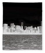 Chicago In Black And White Fleece Blanket