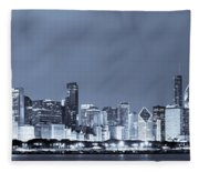 Chicago In Blue Fleece Blanket