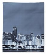 Chicago In Blue Fleece Blanket