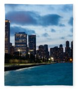 Chicago Lake Front At Blue Hour Fleece Blanket