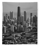 Chicago Looking East 01 Black And White Fleece Blanket
