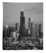 Chicago Looking East 02 Black And White Fleece Blanket