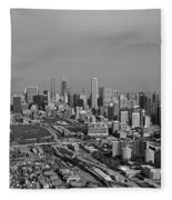 Chicago Looking North 01 Black And White Fleece Blanket