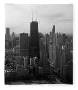 Chicago Looking South 01 Black And White Fleece Blanket