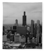 Chicago Looking West 01 Black And White Fleece Blanket