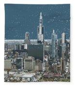 Chicago Looking West In A Snow Storm Digital Art Fleece Blanket