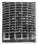 Chicago Marina City Parking Bw Fleece Blanket