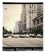 Chicago Michigan Ave Field Museum Art Institute Triptych 3 Panel Fleece Blanket