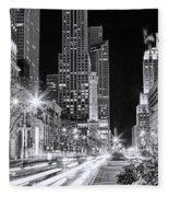 Chicago Michigan Avenue Light Streak Black And White Fleece Blanket