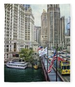 Chicago Michigan Avenue V Hdr Textured Fleece Blanket