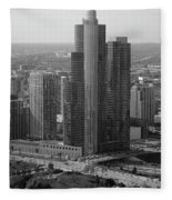 Chicago Modern Skyscraper Black And White Fleece Blanket