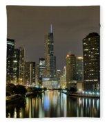 Chicago Night River View Fleece Blanket