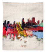 Chicago Painted City Skyline Fleece Blanket