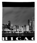 Chicago Panorama At Night Fleece Blanket