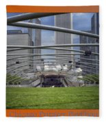 Chicago Pritzker Music Pavillion Triptych 3 Panel Fleece Blanket