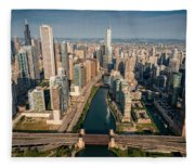 Chicago River Aloft Fleece Blanket