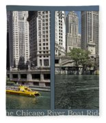 Chicago River Boat Rides 2 Panel Fleece Blanket